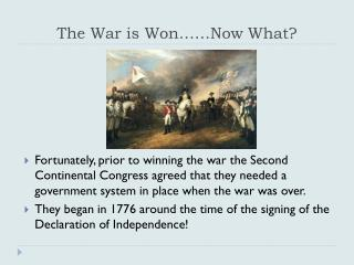The War is Won……Now What?