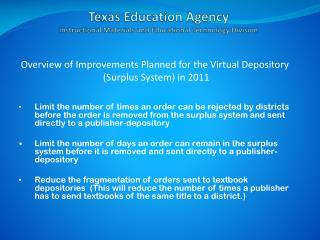 Texas Education Agency Instructional Materials and Educational Technology Division