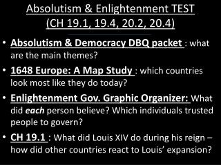 Absolutism & Enlightenment TEST (CH 19.1, 19.4, 20.2, 20.4)