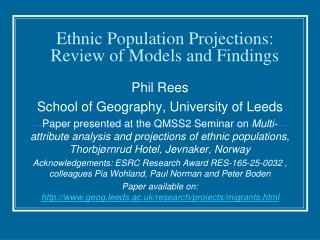 Ethnic Population Projections: Review of Models and Findings