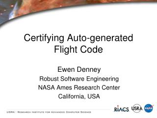 Certifying Auto-generated Flight Code