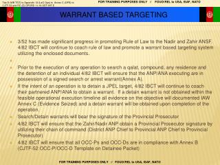 WARRANT BASED TARGETING