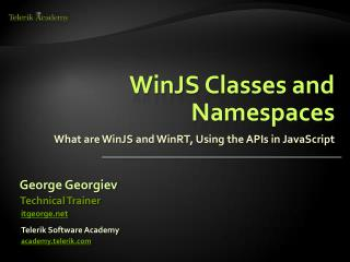 WinJS  Classes and Namespaces