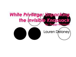 White Privilege: Unpacking the Invisible Knapsack By: Peggy McIntosh