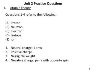 Unit 2 Practice Questions Atomic Theory