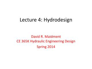Lecture 4:  Hydrodesign