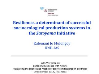 WCC Workshop on  Enhancing Resilience with Nature: