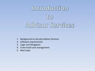 Introduction to Advisor Services