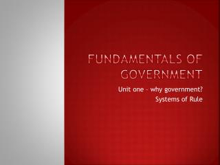 Fundamentals of Government