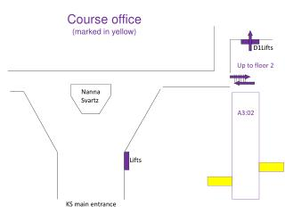 Course office (marked in yellow)