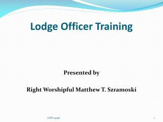 Lodge Officer Training