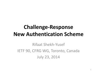 Challenge-Response New Authentication Scheme