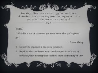 "Journal ""Life is like a box of chocolate; you never know what you're gonna get.""  ~ Forrest Gump"