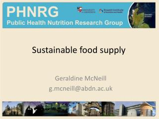 Sustainable food supply