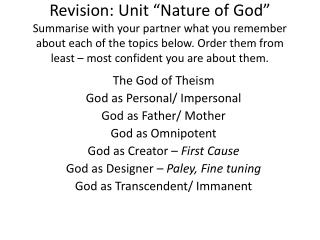 The God of Theism God as Personal/ Impersonal God as Father/ Mother God as Omnipotent