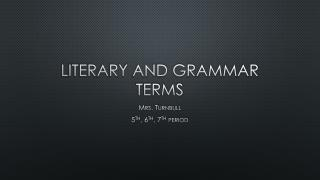 Literary and Grammar Terms