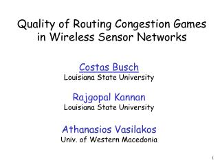 Quality of Routing Congestion Games in Wireless Sensor Networks
