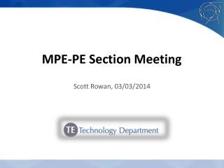 MPE-PE Section Meeting