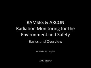 RAMSES & ARCON Radiation Monitoring for the Environment and Safety