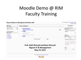 Moodle Demo @ RIM Faculty Training