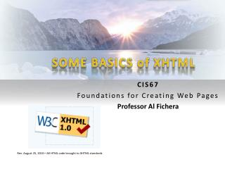 SOME BASICS of XHTML