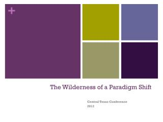 The Wilderness of a Paradigm Shift