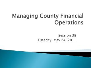 Managing County Financial Operations
