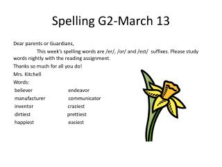 Spelling  G2-March 13