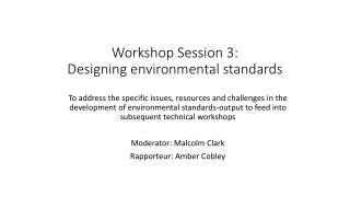 Workshop Session 3: Designing environmental standards