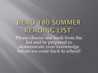 Read 180 Summer reading list
