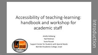 Accessibility of teaching-learning: handbook and workshop for academic staff