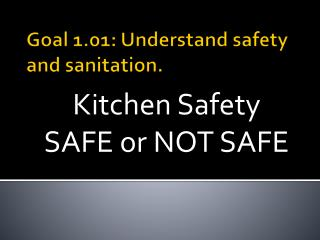 Goal 1.01: Understand safety and sanitation.