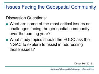 Issues Facing the Geospatial Community