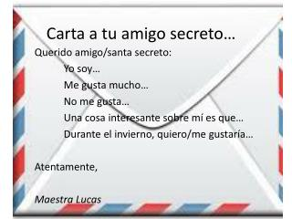 Carta a tu amigo secreto…