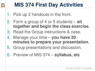 MIS 374 First Day Activities