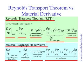 Reynolds Transport Theorem vs. Material Derivative