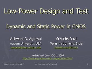 Low-Power Design and Test Dynamic and Static Power in CMOS
