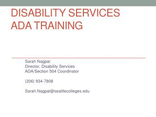 Disability services ada  training