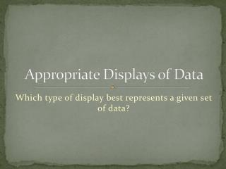Appropriate Displays of Data