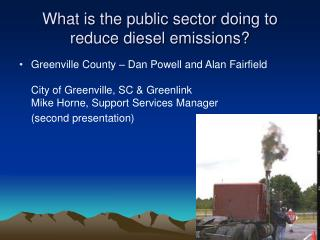 What is the public sector doing to reduce diesel emissions?
