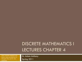 Discrete Mathematics I Lectures Chapter 4
