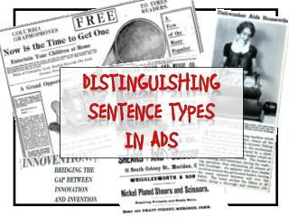 Distinguishing  Sentence Types  in Ads