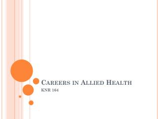 Careers in Allied Health