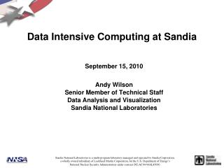 Data Intensive Computing at Sandia