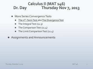 Calculus II (MAT 146) Dr. Day		Thursday Nov 7, 2013