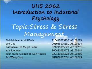 Topic:	Stress & Stress Management