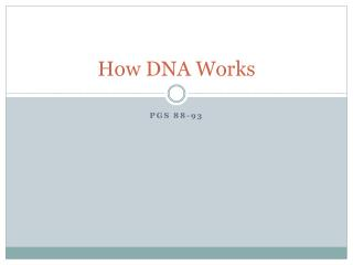 How DNA Works