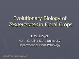 Evolutionary Biology of  Tospoviruses  in Floral Crops
