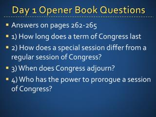 Day 1 Opener Book Questions