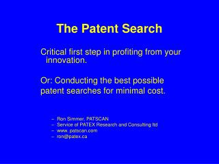 The Patent Search